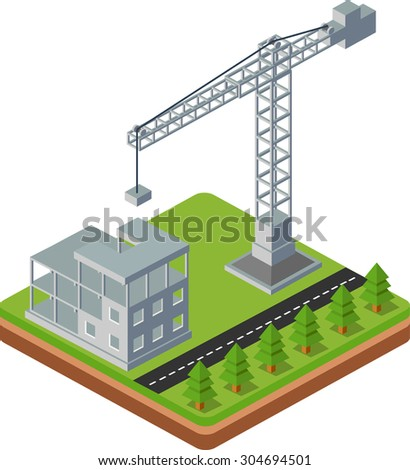 Industrial city building with construction cranes and building houses, the trees made the road in perspective - stock vector
