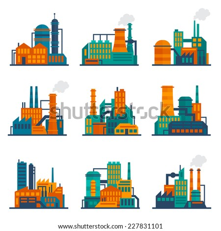 Industrial city construction building factories and plants flat icons set isolated vector illustration - stock vector