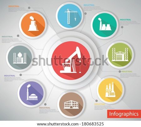 Industrial Concept,Infographics,Colorful version,vector - stock vector