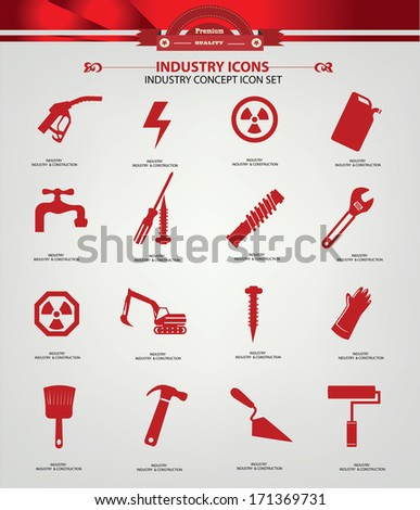 Industrial & Construction icons,Red version,vector - stock vector