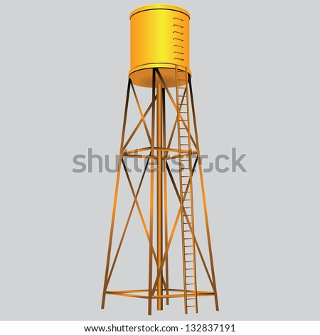 Industrial construction with water tank. Vector illustration. - stock vector