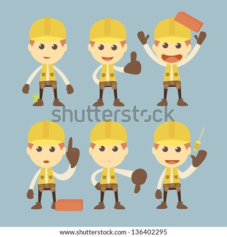 Industrial Construction Worker cartoon set - stock vector