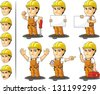 Industrial Construction Worker Mascot - stock photo