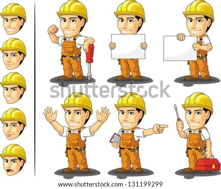 Industrial Construction Worker Mascot - stock vector