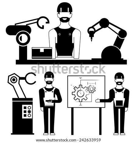 industrial engineer and robotic arm in production line, manufacturing and product design concept - stock vector