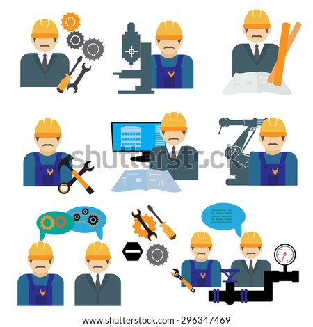 Industrial engineering management icons set. - stock vector