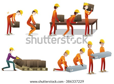 industrial equipment, people moving and lifting objects