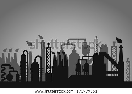 Industrial factory background with a greyscale skyline silhouette of storage tanks  chimneys emitting flames and interconnected pipes depicting a refinery  processing plant or factory - stock vector