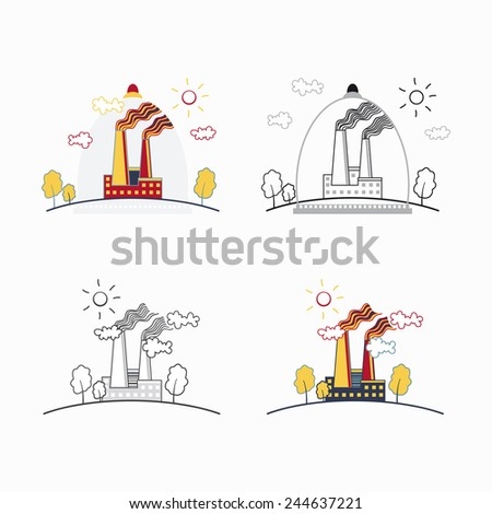 Industrial factory buildings icons.Vector illustration - stock vector