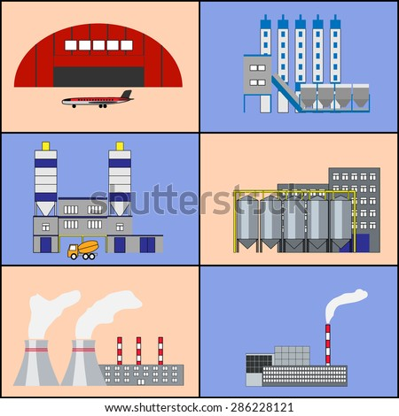 Industrial factory buildings, manufactory, hangar with plane, heat electric station, plant icons set. Modern infographic flat design. Colorful template for you design, web, mobile applications. Vector - stock vector