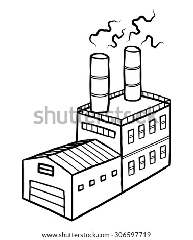 industrial factory / cartoon vector and illustration, black and white, hand drawn, sketch style, isolated on white background. - stock vector