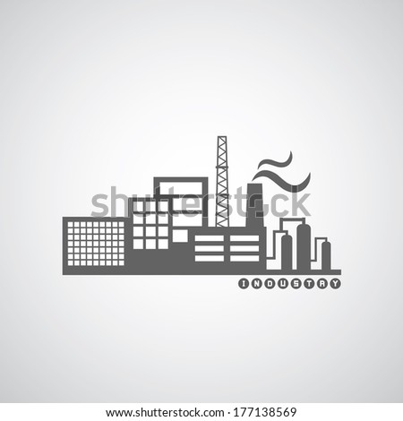 industrial factory icon on gray background - stock vector