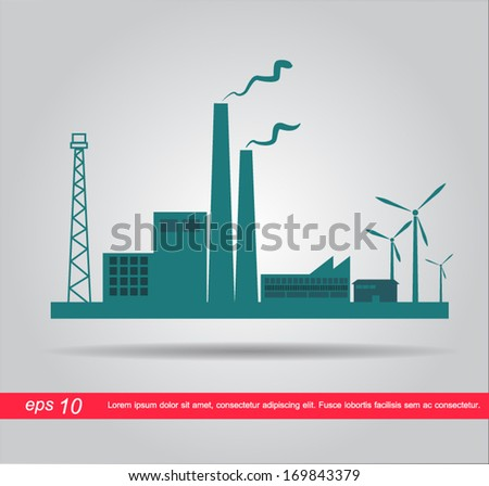 industrial factory vector icon - stock vector