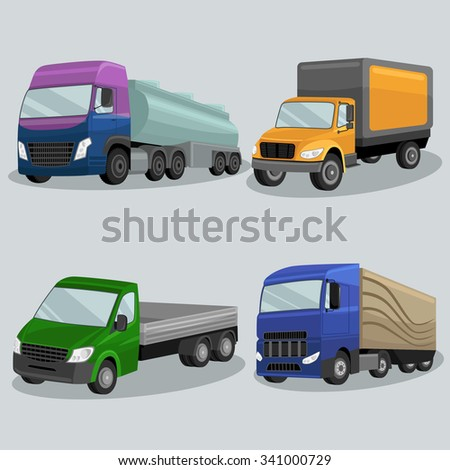 Industrial freight vehicles vector image design set for your illustration, decoration, labels, stickers and other creative needs.