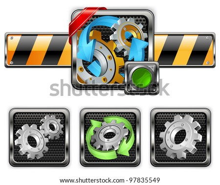Industrial gears icons on white, mechanical vector illustration - stock vector