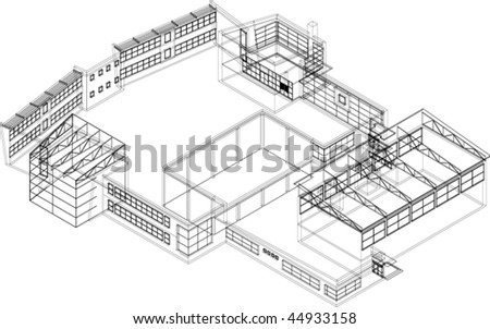 Industrial hall - stock vector