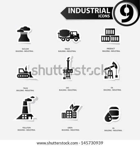 Industrial icons,Black version,vector - stock vector