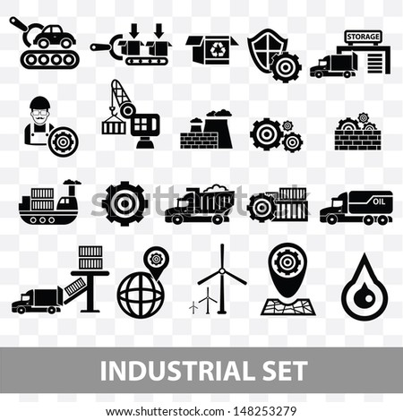Industrial icons,Blank background version,vector - stock vector