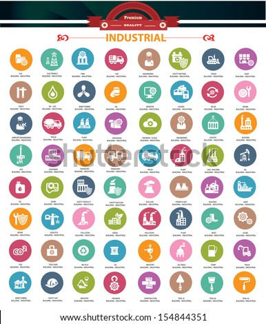 Industrial icons,Colorful version,vector - stock vector
