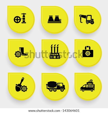Industrial icons on yellow buttons,vector - stock vector