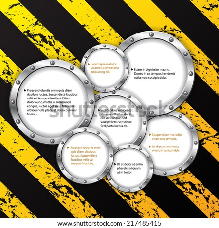 Industrial infographic design with striped grunge background  - stock vector