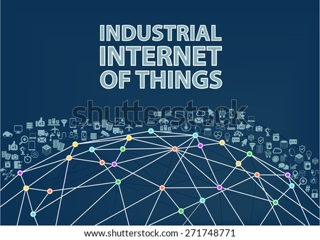 Industrial internet of things vector illustration background. Internet of things concept visualized by globe wireframe and connections between different connected devices - stock vector