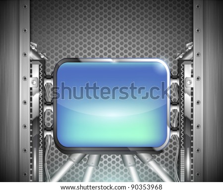 industrial iron background with shiny blue screen - stock vector