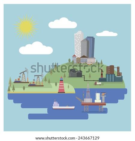 Industrial landscape  - stock vector