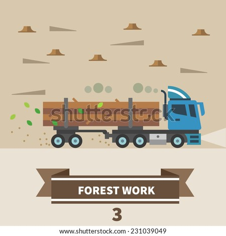 Industrial landscape. Factory and construction. Forest work. Machinery for deforestation. Truck. Vector flat illustration - stock vector