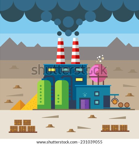 Industrial landscape. Factory and construction. Plant and materials. Environmental pollution and deforestation. Vector flat illustration - stock vector