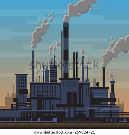 Industrial landscape of manufacturing factory buildings with smoke pipes in sunset. Environmental pollution, smog and fog in sky, ecology concept. Flat style. - stock vector