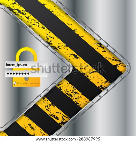 Industrial login screen design with grunge warning elements - stock vector