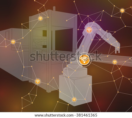 industrial machinery and robotic arm, wireless network, internet of things, factory automation, line drawing illustration, vector - stock vector
