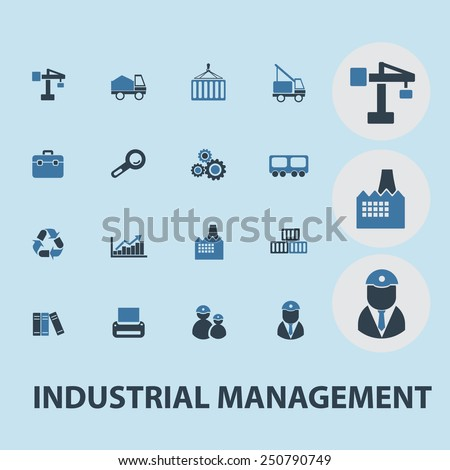 industrial management, factory, construction flat icons, signs, illustrations design concept vector set - stock vector