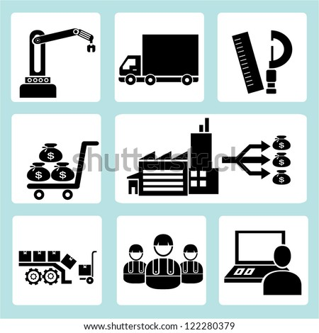 industrial management icon set - stock vector