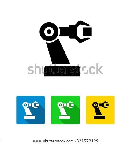 Industrial mechanical robot arm vector icon  - stock vector