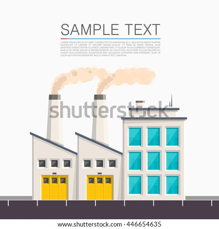 Industrial on the roadside. Vector illustration - stock vector