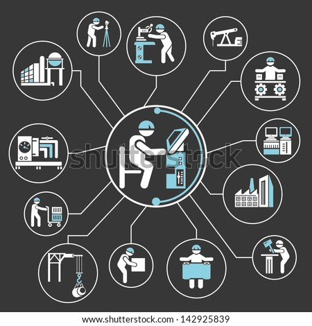 industrial operation, industry mind mapping info graphic, engineering work - stock vector