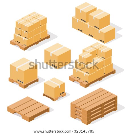 Industrial pallets and boxes for warehouse. Simple set of box and pallets isolated ob white background, made in isometric style. - stock vector