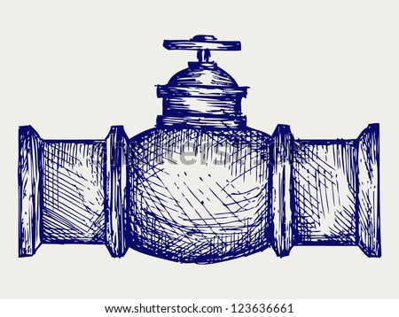 Industrial pipeline part. Doodle style - stock vector