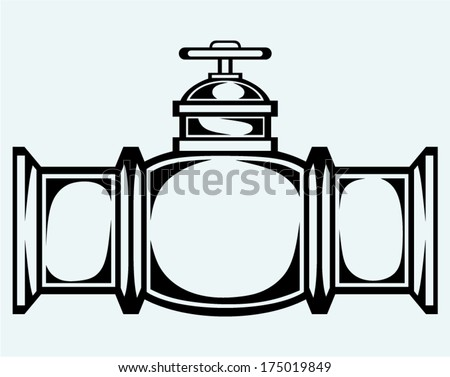 Industrial pipeline part. Image isolated on blue background - stock vector