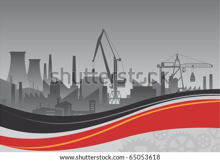 Industrial plant on a background of abstract backdrop - stock vector