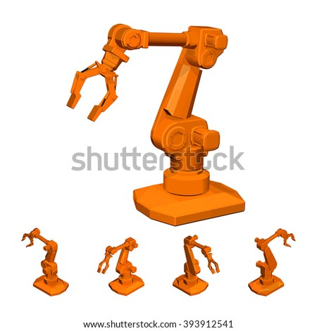 Industrial robot arm for assembly machines and portering, orange. Manipulator with two fingers clamps. Isolated on white background. - stock vector