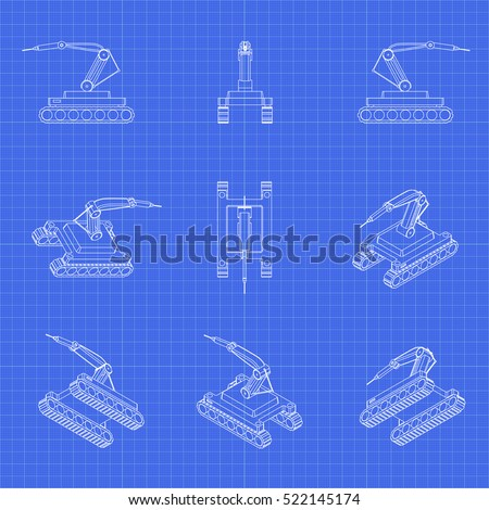 Industrial robot 3 d icons robot vector stock vector 522145174 industrial robot 3d icons robot vector set technology blueprint malvernweather Images