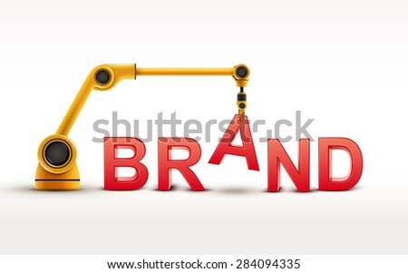 industrial robotic arm building BRAND word on white background