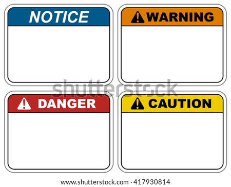 Industrial Safety Decal Vector Template Notice Stock Vector ...