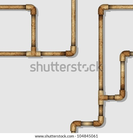 Industrial seamless pattern with rusty pipes. Vector background - stock vector