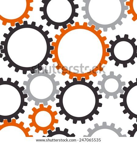 Industrial seamless vector gears background - stock vector