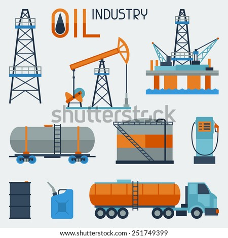 Industrial set of oil and petrol icon. Extraction and refinery facilities. - stock vector