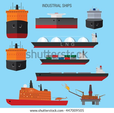 Industrial ships, icebreaker and oil platform. Vector illustration